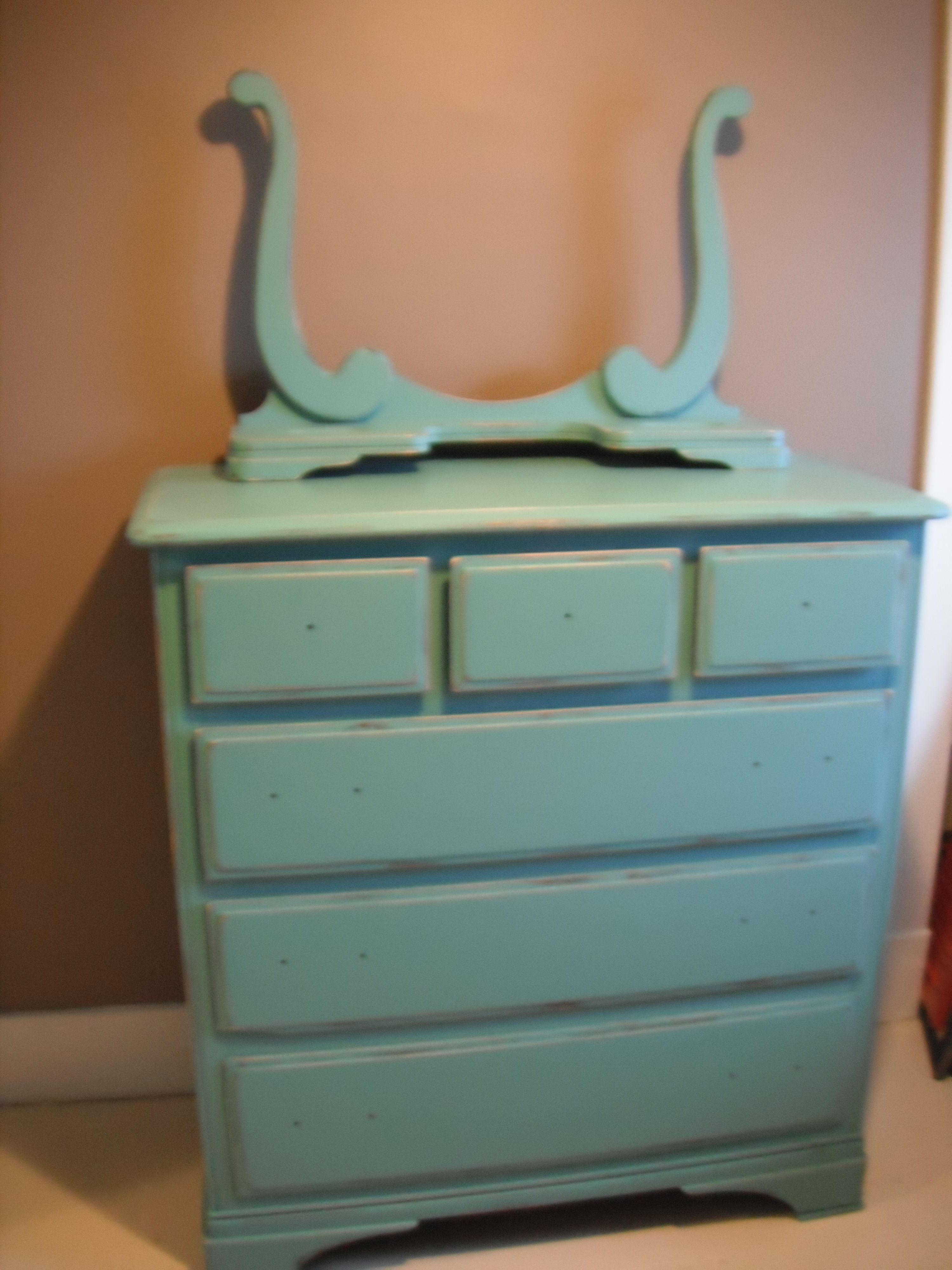 A dresser I did in a perfect blue, also has the mirror.