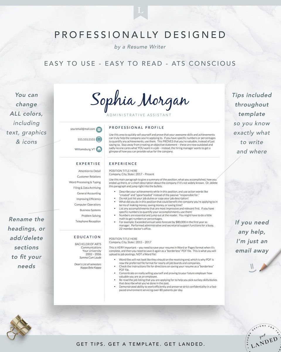 Creative Resume Template The Sophia Executive resume