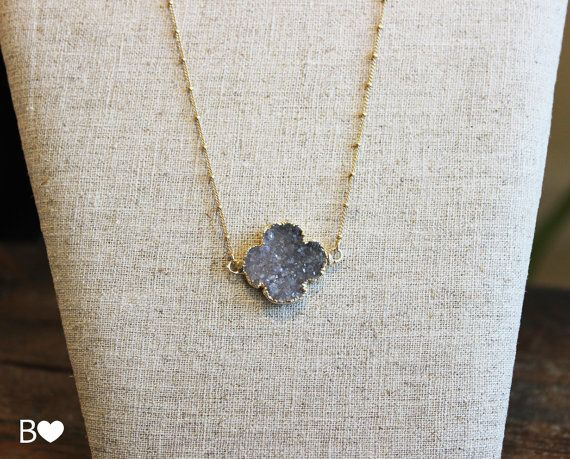 24K Gold Edged Druzy Clover Layering Necklace by BonfimJewelry