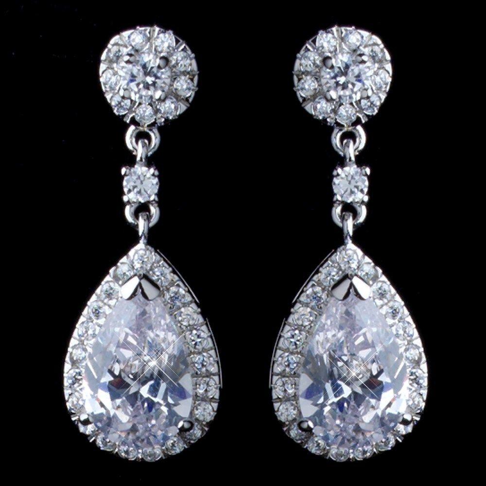 Teardrop CZ Drop Wedding Earrings