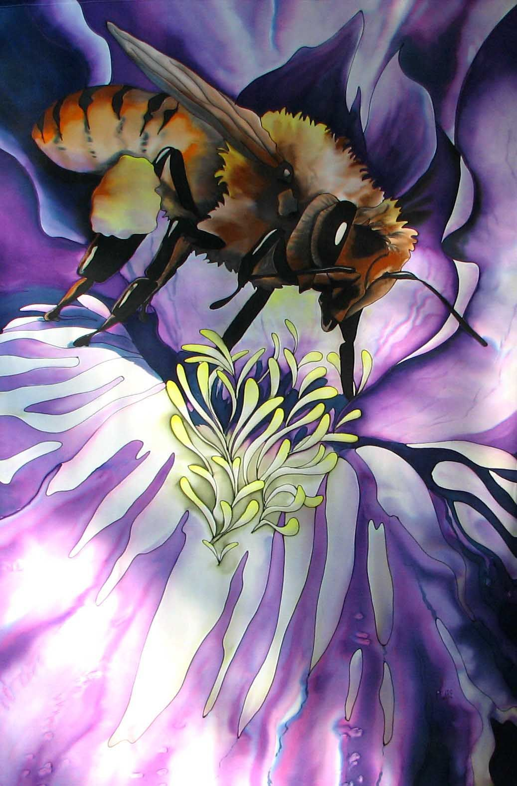 """""""Bee Banner"""", 72 x 45 inches.  Silk painting by Pamela Glose.  Visit www.MySilkArt.com for Pamela's how-to ebooks on silk painting."""