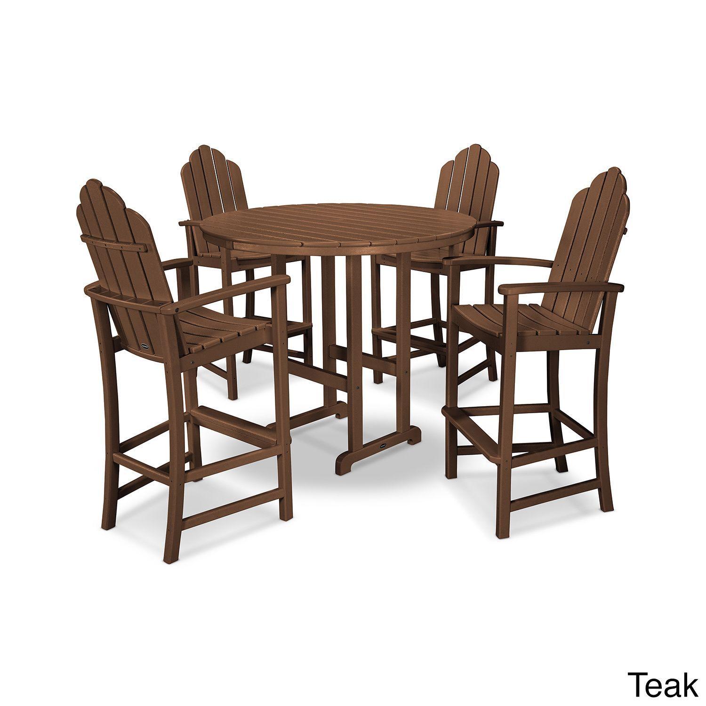 Polywood Kahala 5 Piece Adirondack Grey Plastic Bar Dining Set (Teak),  Brown,