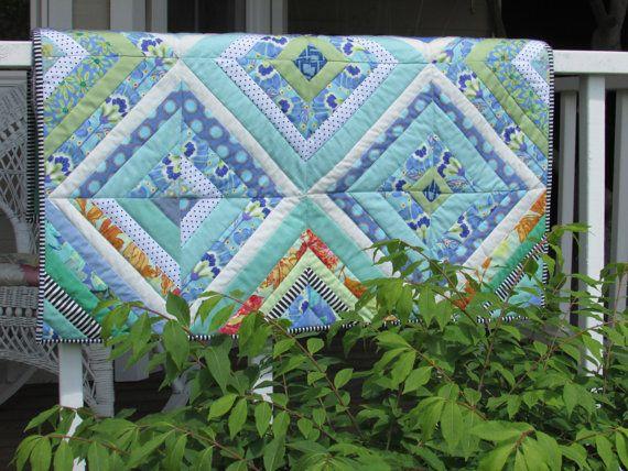 Aqua Teal and Jade Green Modern Baby Quilt by HandmadeByTheLake, $85.00
