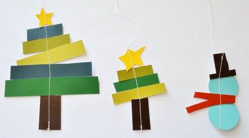 weihnachtsbasteln Scheemann und Tannenbäume aus buntem Papier