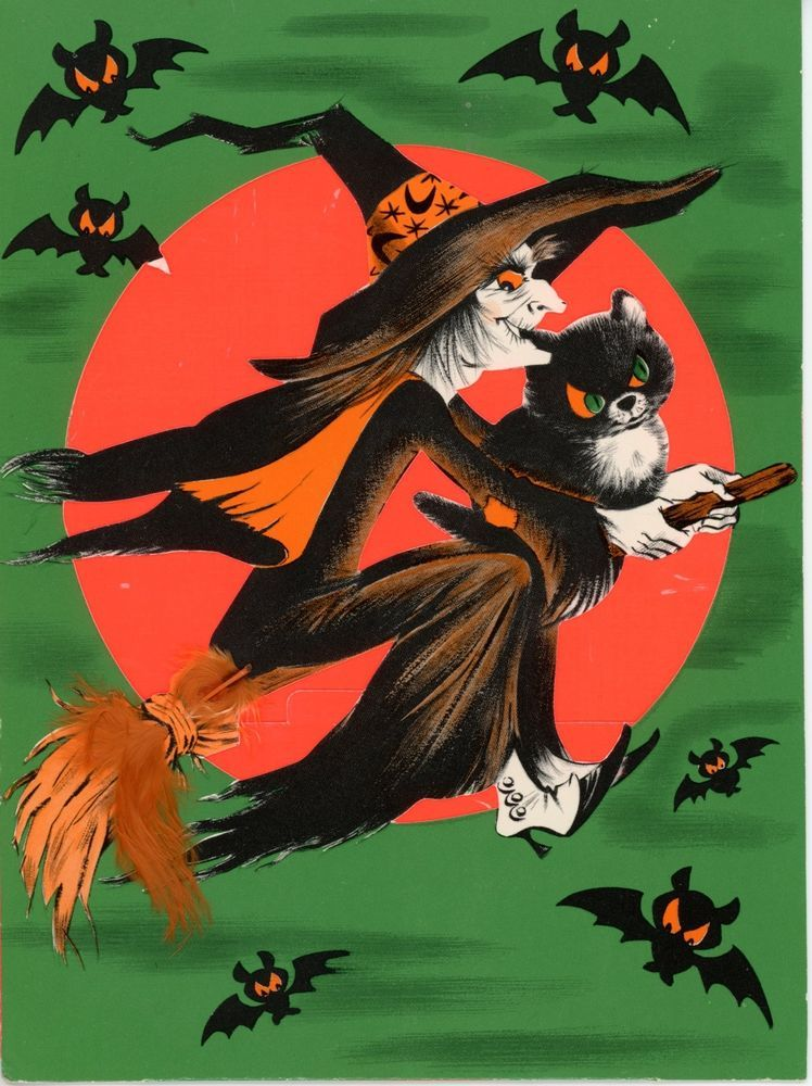 Vintage Norcross Halloween Greeting Card Witch Flying Over Moon Bats 2625