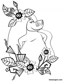 Printable Madagascar 3 Gloria Surrounded By Flowers Coloring Page