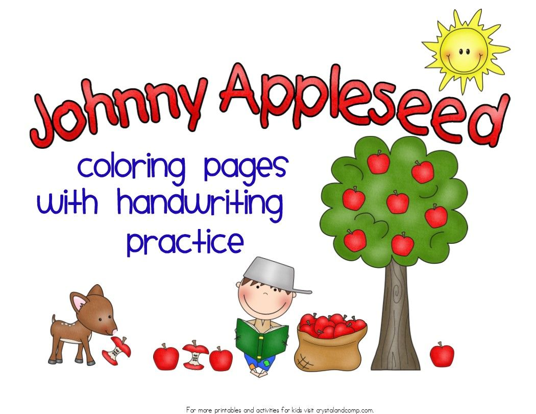 Johnny Appleseed Coloring Pages with Handwriting Practice  Johnny