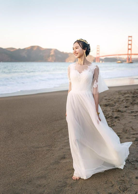 Photo of Mariana – Selena Huan handmade 1/2 Sleeves A-line light-weight lace gown wedding dresses