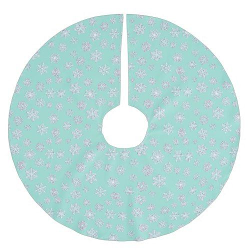 Aqua Christmas Tree Skirt: White 3-d Snowflakes On An Aqua Background Brushed