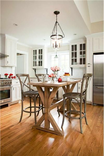 Cozy Transitional Kitchen With Counter Height Table
