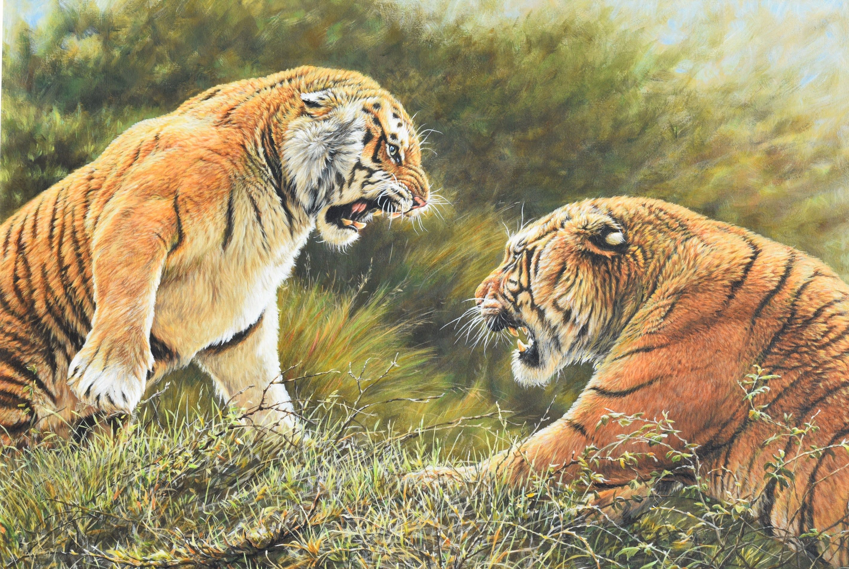 A magnificent painting very big For Sale Lovers Tiff