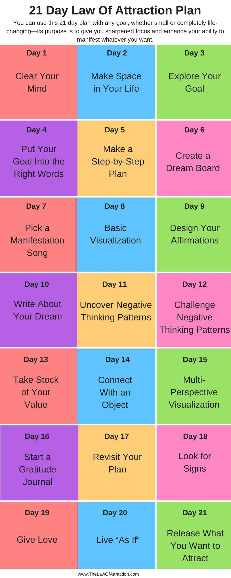 21 Day Challenge The Law Of Attraction Plan For Manifesting Happiness Law Of Attraction Law Of Attraction Money Manifestation Miracle