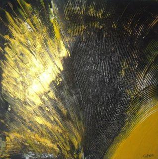 Tableau Peinture Acrylique Noir Jaune Abstrait Abstrait Acrylique