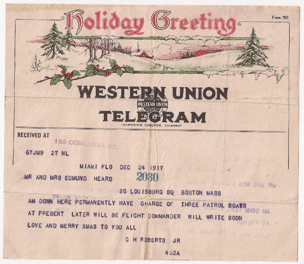 December 24 1917 Western Union Christmas Telegram Holiday Greeting Header Ebay Holiday Greetings Christmas Ephemera Greetings