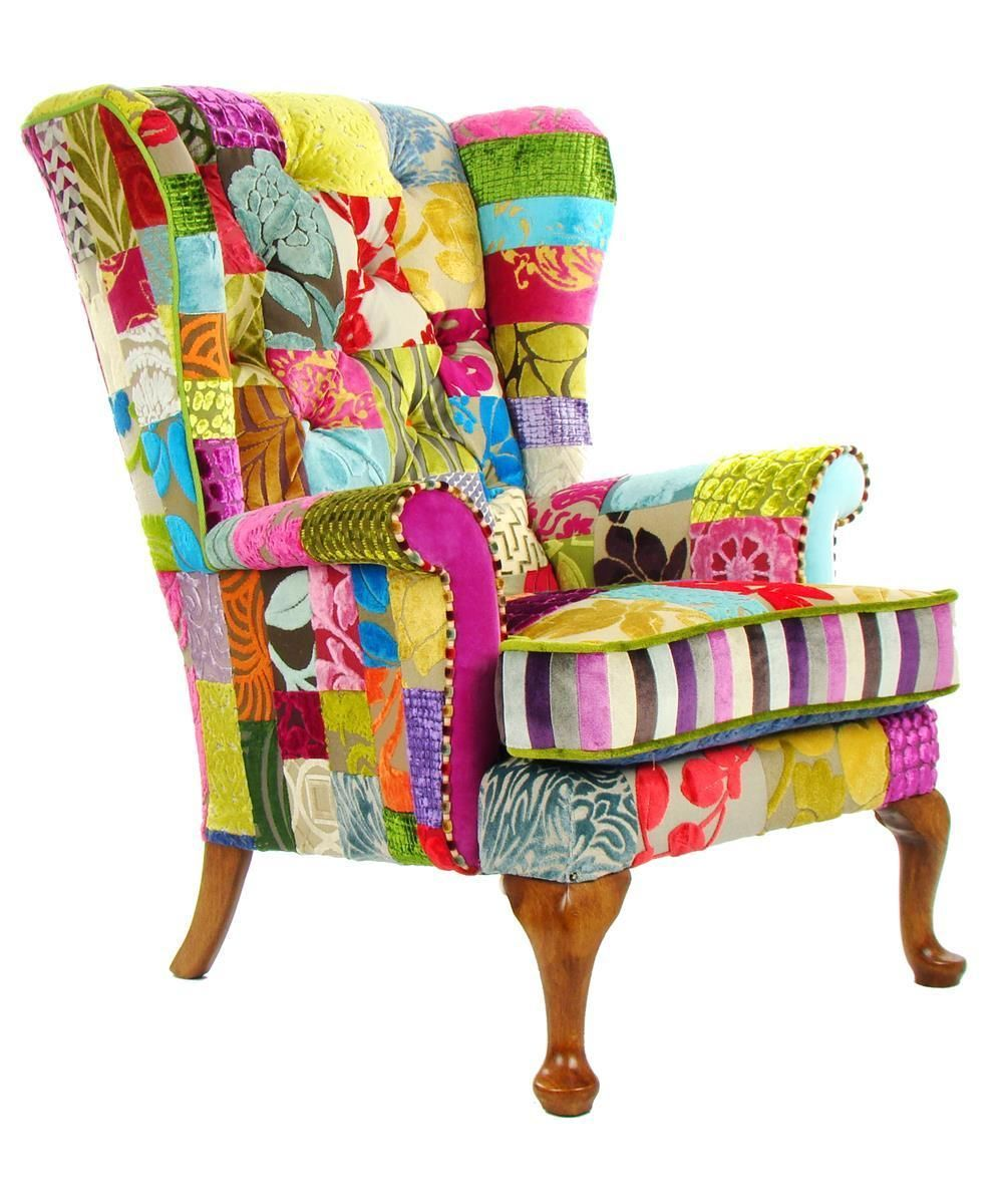patchwork parker knoll chair in designers guild ebay. Black Bedroom Furniture Sets. Home Design Ideas