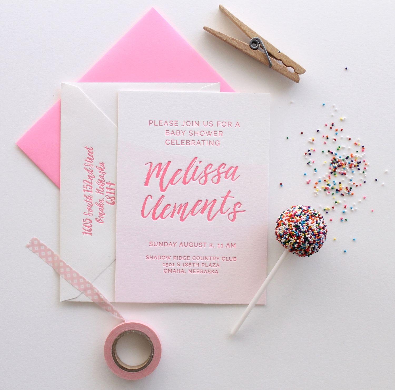 it\'s a girl! dip dye pink + neon letterpress baby shower | swell ...