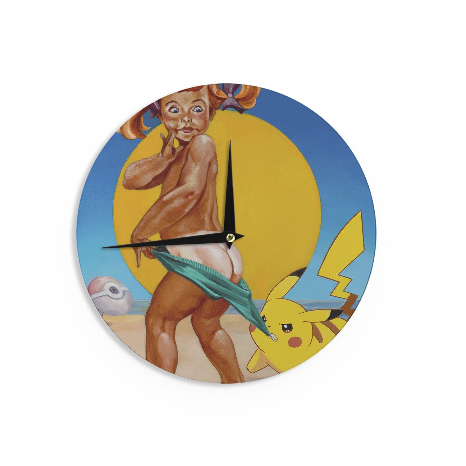 Kess InHouse Jared Yamahata \'Peekachu\' Yellow Pop Art Wall Clock ...