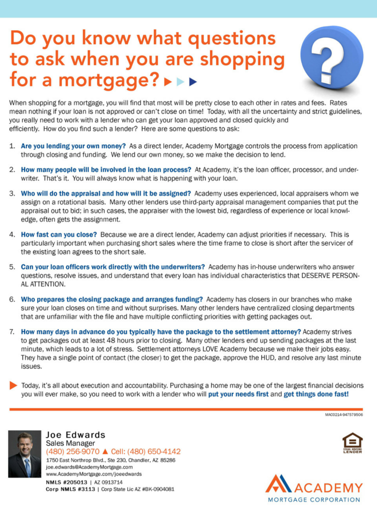 Exceptional Questions To Ask When Shopping For A Mortgage. Joe Edwards, Loan Officer At  Academy