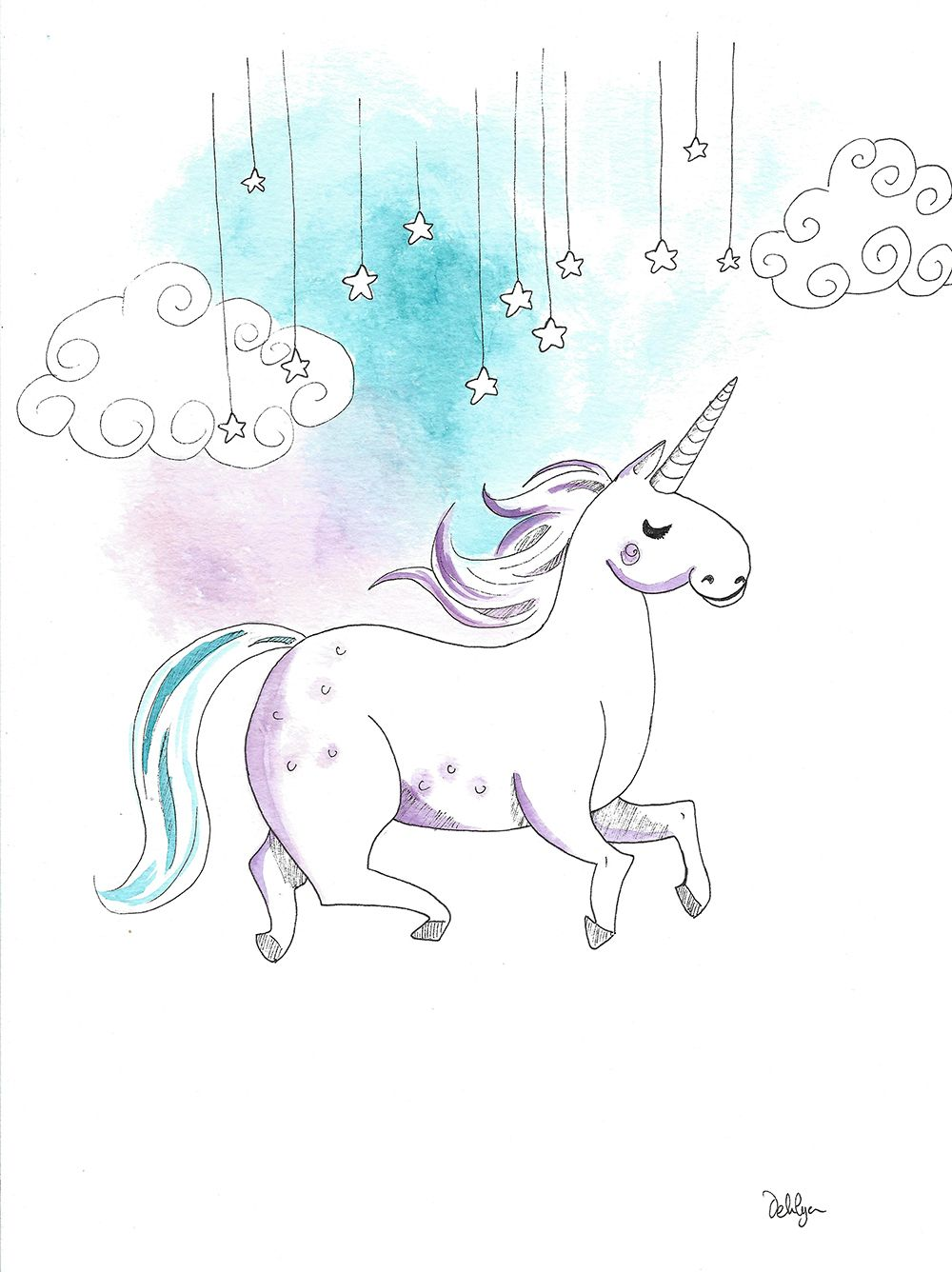 Unicorn Illustration Aquarelle Watercolors Drawing Dessin
