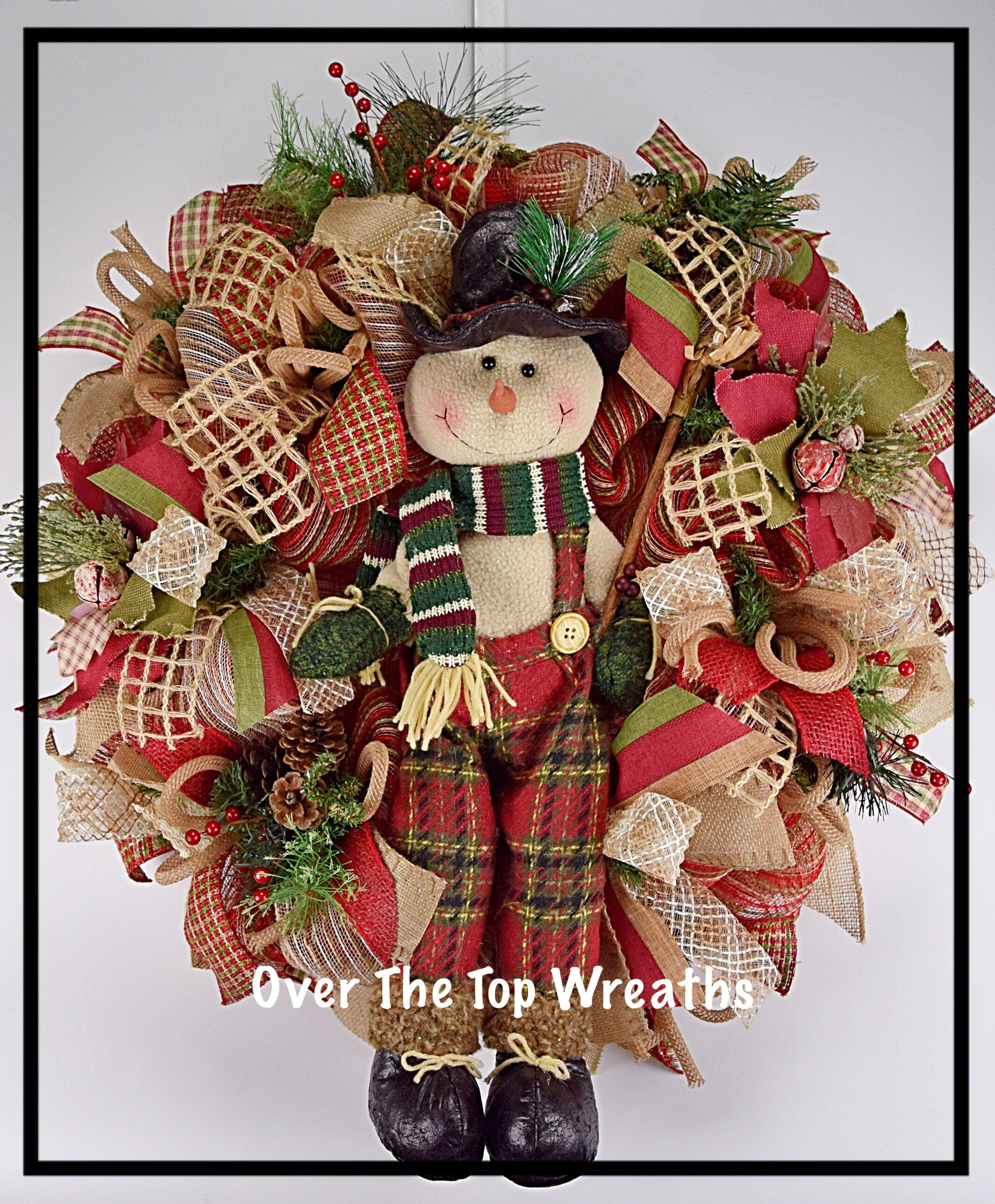 Plush Snowman Christmas and All Winter Wreath Burlap
