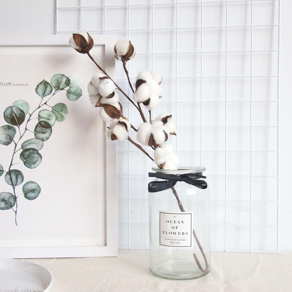 Artificial 10 Flowers Bouquet Naturally Dried Cotton Stems Home Floral Decors