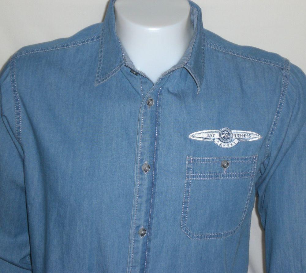 Jay Lenos Garage Shirt Men Medium CNBC Blue Denim Button