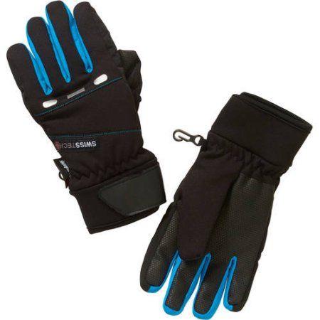 Swiss Tech Boys Hybrid Gloves With Reflective, Size: L-XL, Black