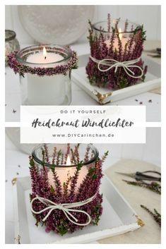 DIY Windlichter mit Heidekraut einfach selber machen - Herbstdeko