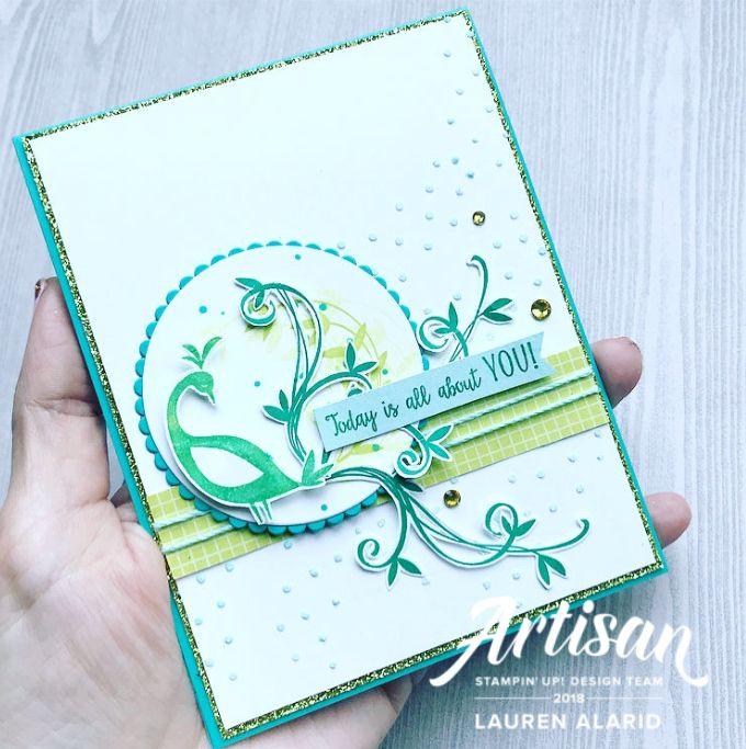 beautiful peacock  stampin' up artisan blog hop