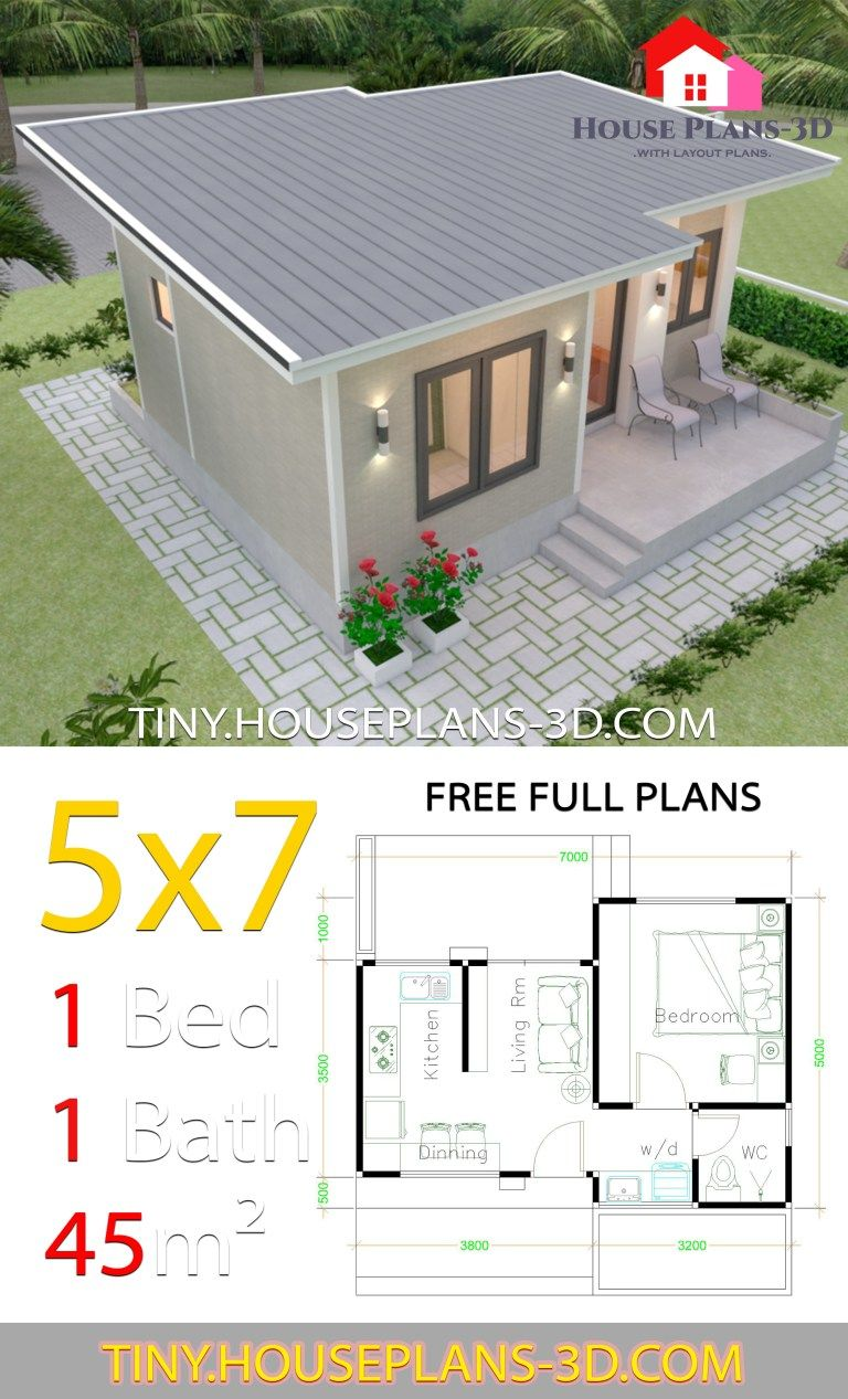 Small House Design Plans 5x7 With One Bedroom Shed Roof Tiny House Plans Small House Design Plans Small House Design Philippines Affordable House Plans