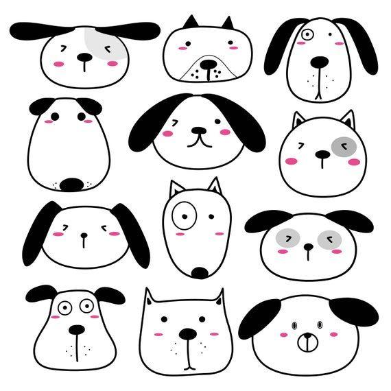 Cute Dog Clipart, kawaii clipart, Cute Animal Clipart, Dog Clipart, Pet Clipart, Clipart, Vector Files, Digital Download Clipart