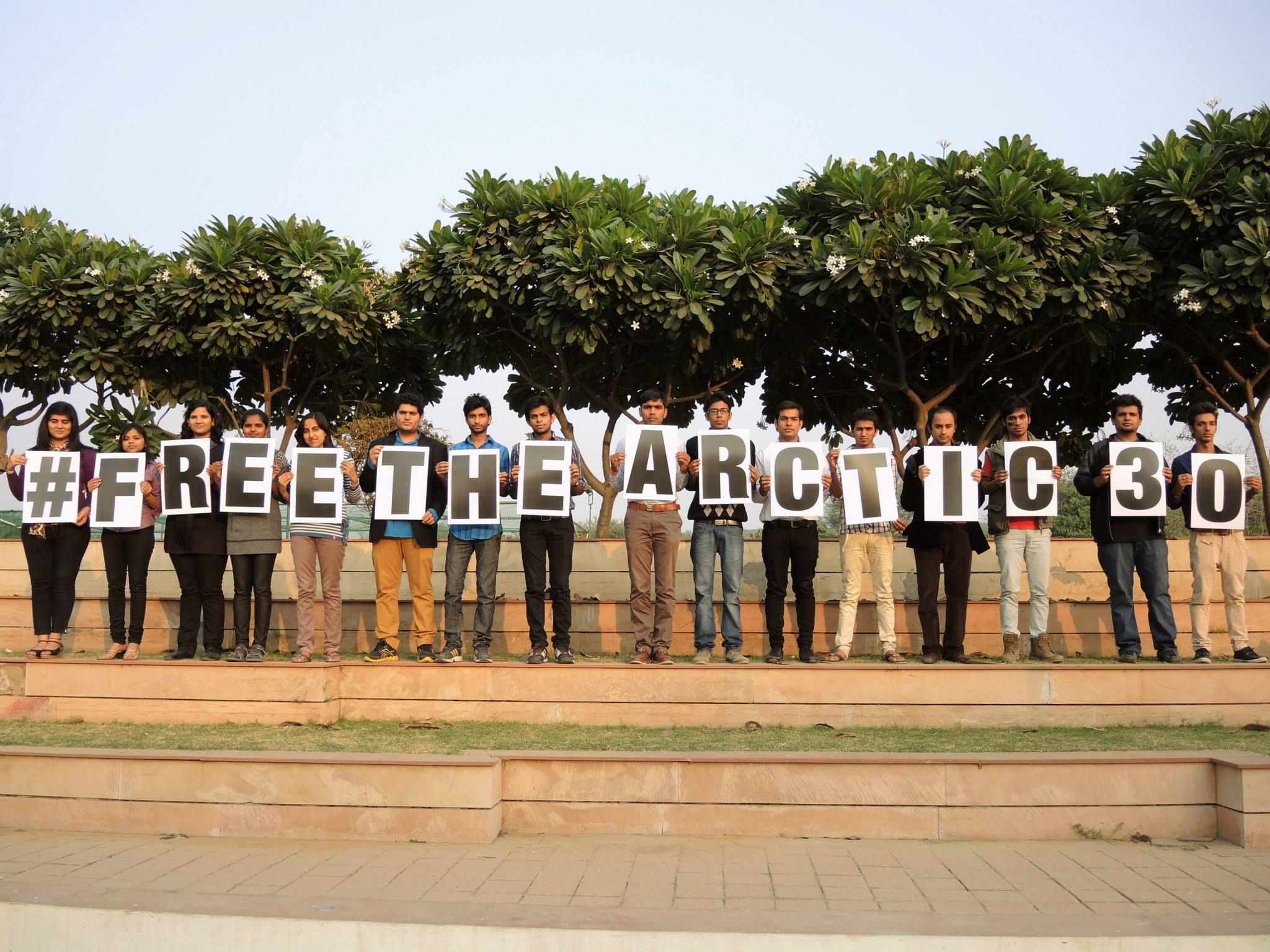A group of supporters show their support to the climate heroes in Gurgaon #FreeTheArctic30