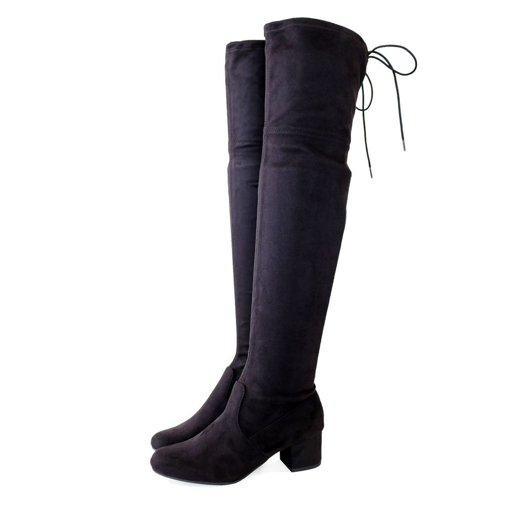 c8638e2bd19 Micro Stretch Suede 2 in. Covered Block Heel Over the Knee High Boots Black   Trendyoak  FashionOvertheKnee  SpecialOccasiontoCasual