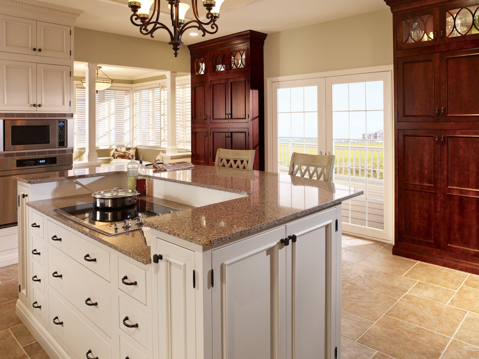 Aristokraft cabinets white island home kitchens pinterest