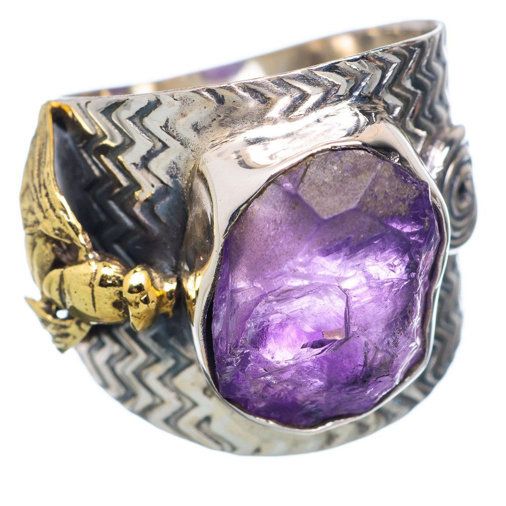 Rough Amethyst Fly 925 Sterling Silver Ring Size 8.5 RING659829