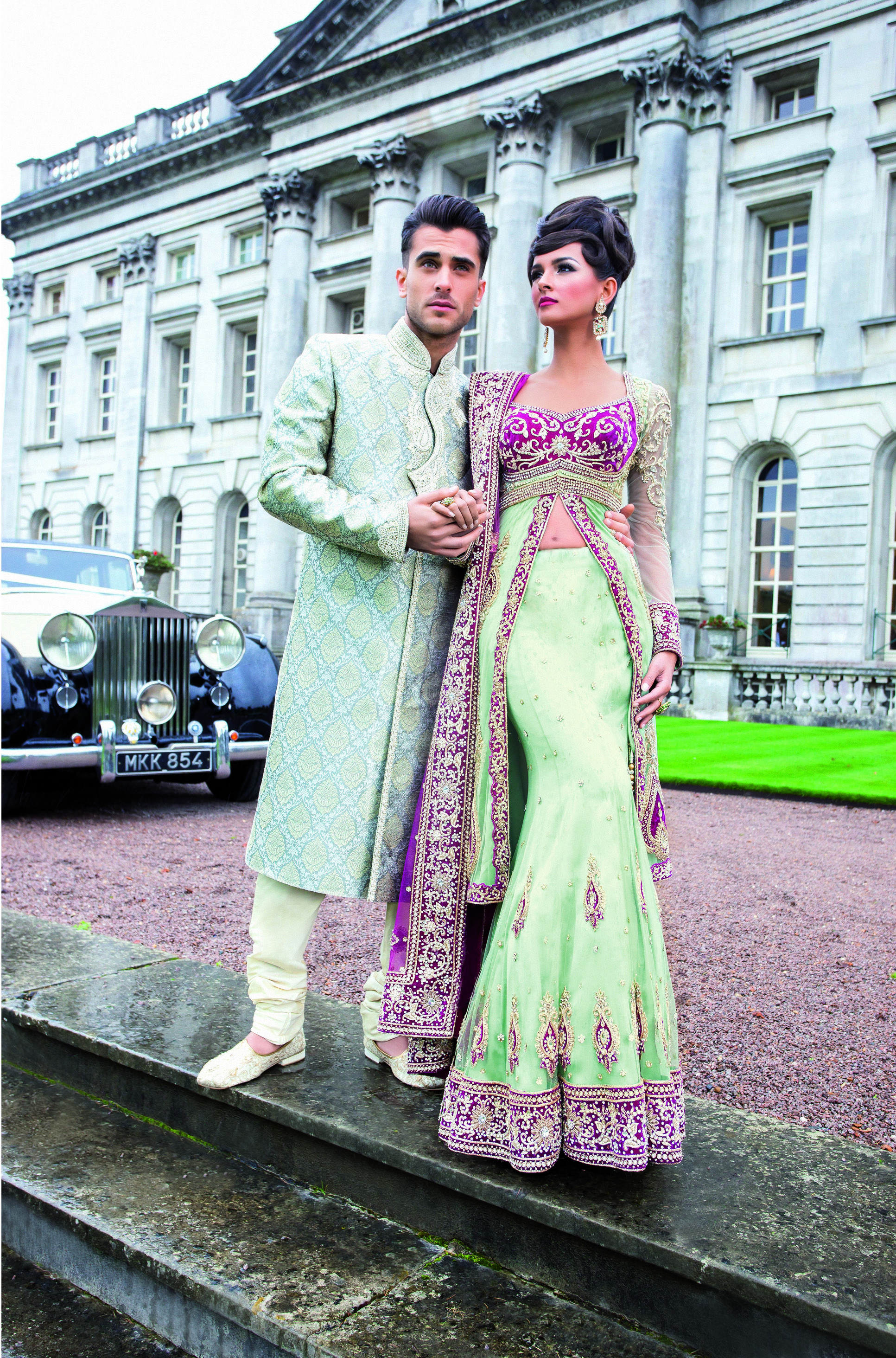 Colour coordinated, mint green and purple Asian wedding gown and Sherwani - Traditions Online http://www.traditionsonline.co.uk/