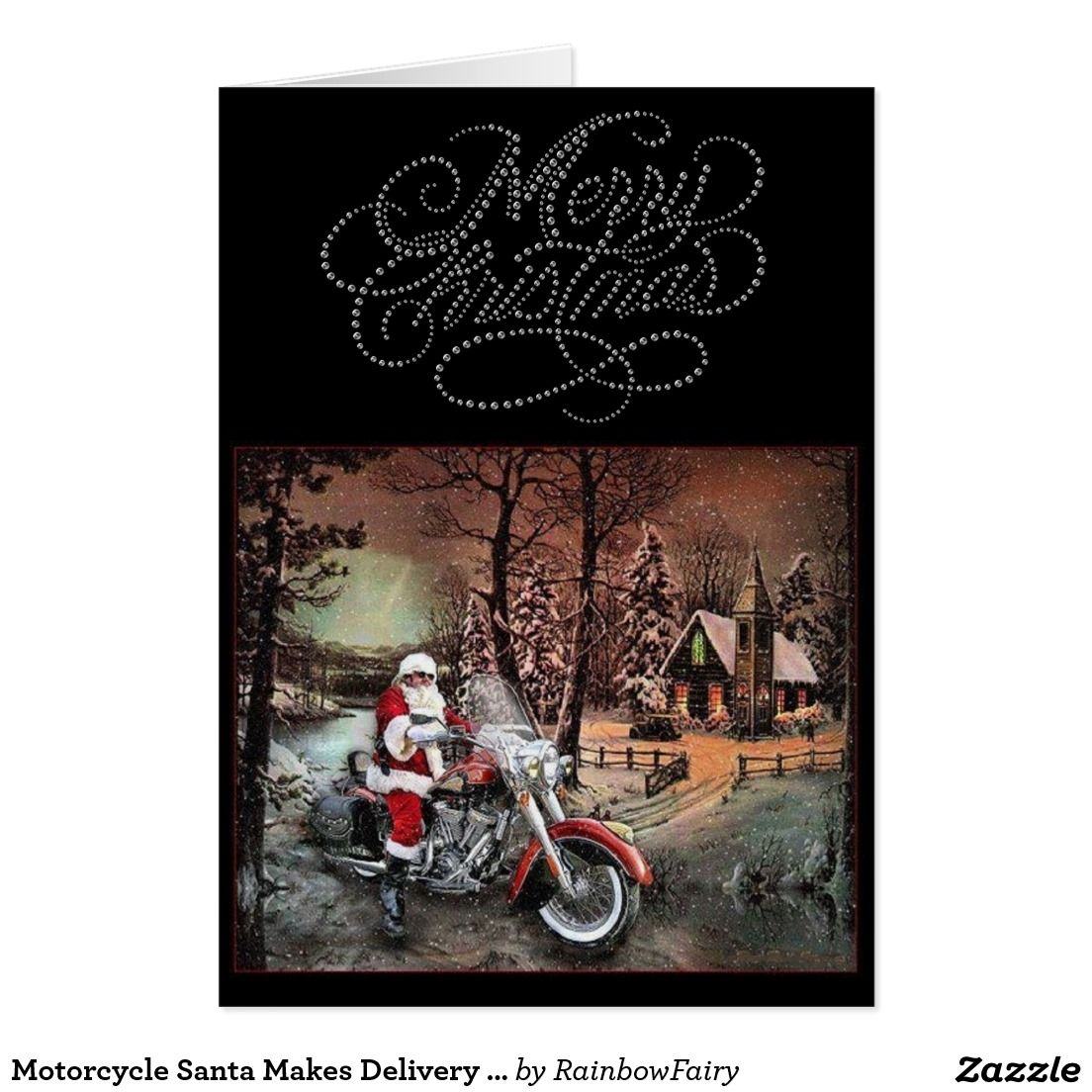 Motorcycle Santa Makes Delivery Christmas Card Holiday Event
