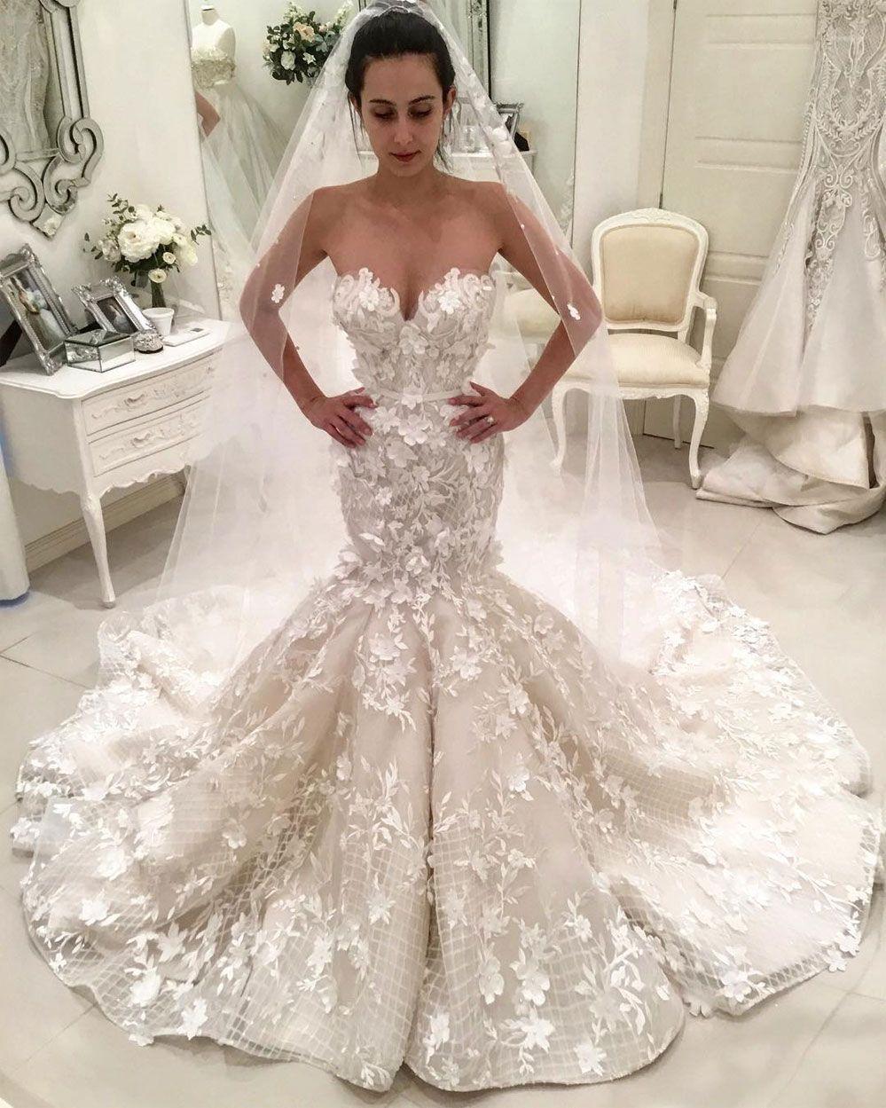 94b9a42c24ce Sweetheart neckline heavy embellishment 3d floral applique mermaid wedding  dress #weddingdress #weddinggown #wedding #bridedress