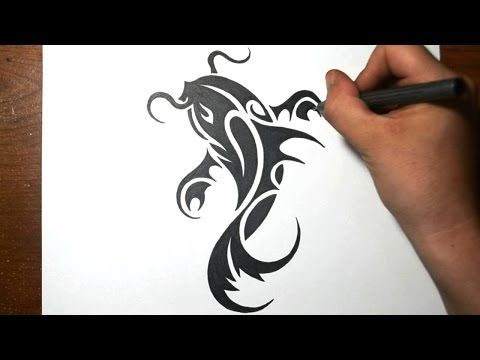 138adede6 How to Draw a Koi Fish - Simple Tribal Tattoo Design - YouTube How to Draw