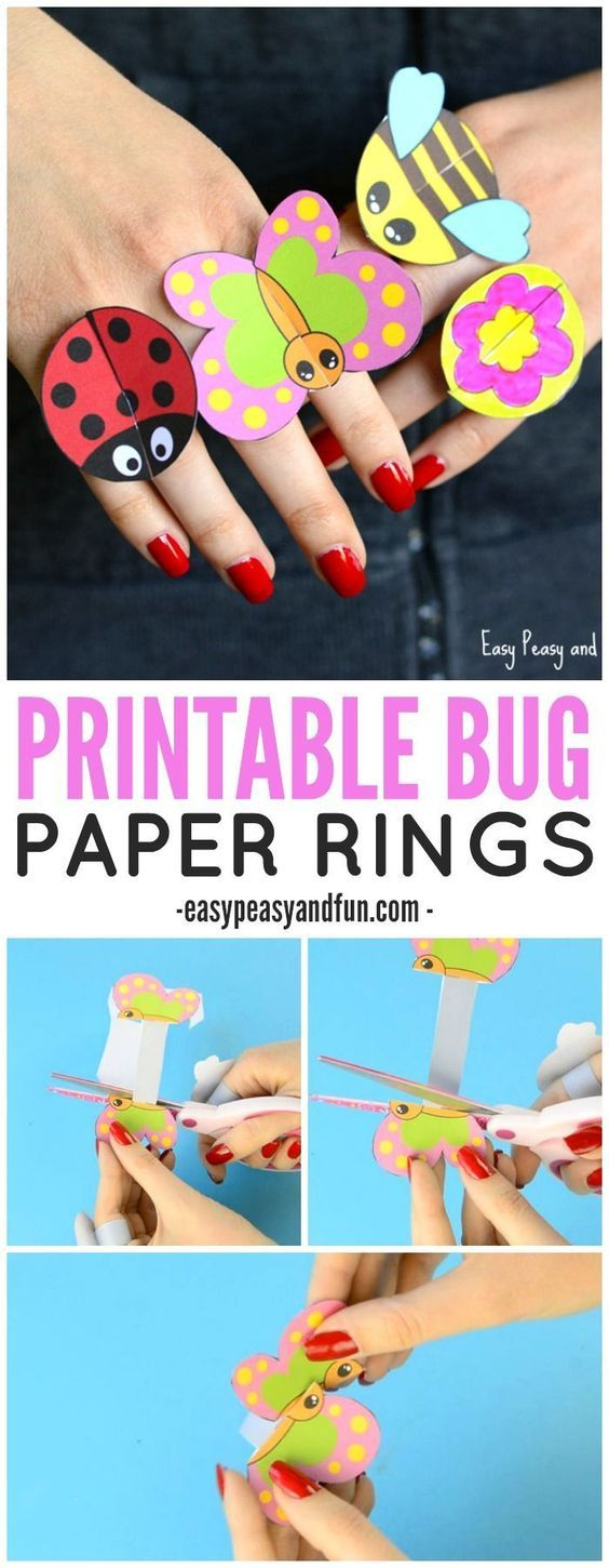 printable bug paper rings for kids craft template crafts