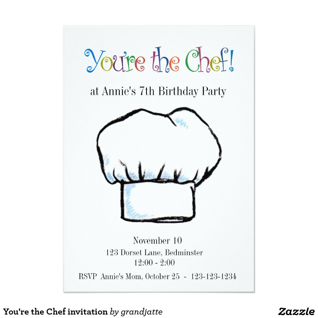 You\'re the Chef invitation | Party invitations | Pinterest | Party ...