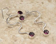 FREE S&H STYLISH AMETHYST EARRINGS 925 Sterling Silver Overlay, 2.5 in, MA-5096