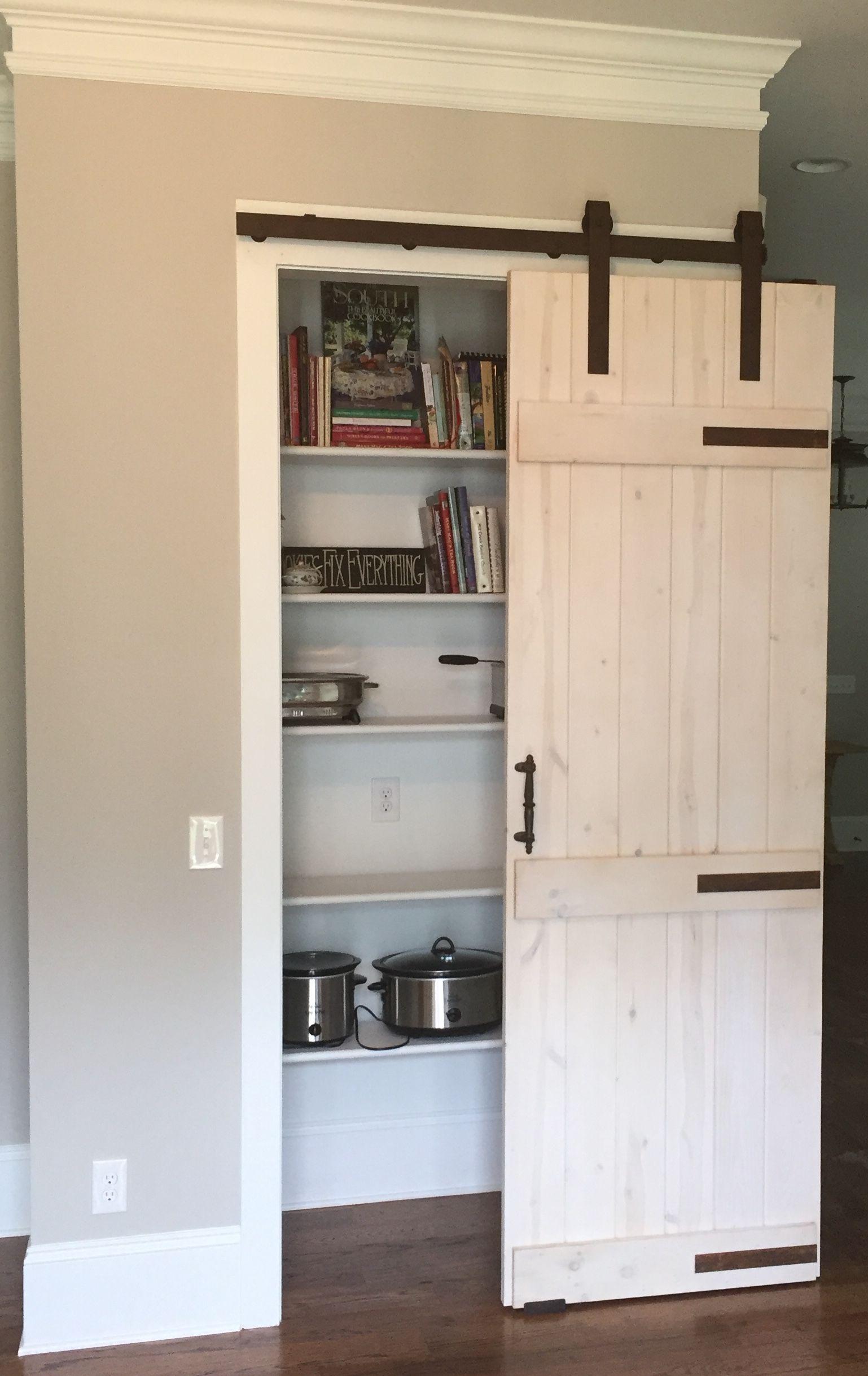 Custom Pine Pantry Barn Door Whitewashed Finish Barn Door