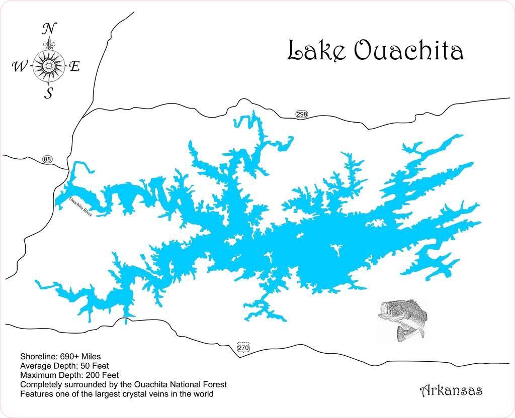 Lake Ouachita Map Lake Ouachita, Arkansas   Wood Laser Cut Map | Lake Ouachita
