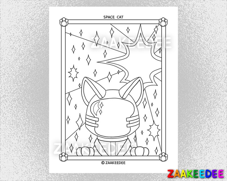 Space Cat Coloring Page PDF Instant Digital Printable