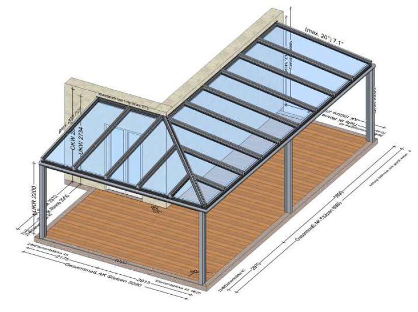 terrassen berdachung skizze planungsbeispiele winterg rten sommerg rten berdachungen. Black Bedroom Furniture Sets. Home Design Ideas