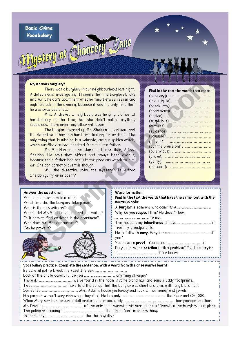 Solve the mystery! (2 pages) worksheet Reading