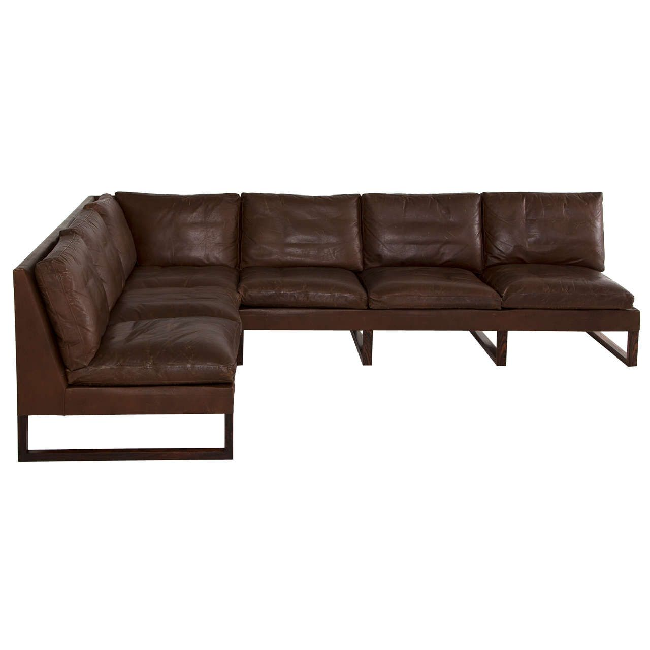 Danish Mid Century Sectional Sofa In Dark Brown Leather 1960s From A Unique Collection Of Brown Leather Sofa Modern Leather Sofa Mid Century Sectional Sofa
