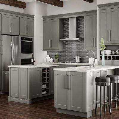 Hampton Bay Shaker Dove Gray Cabinets
