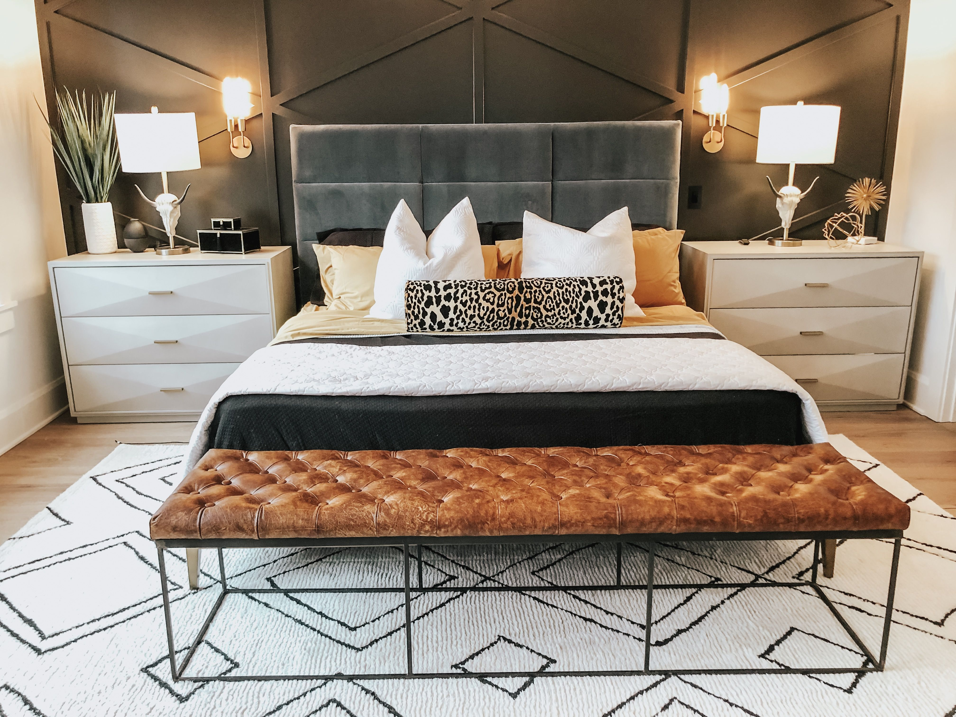 Mid Century Modern Master Bedroom With Restoration Hardware Bed